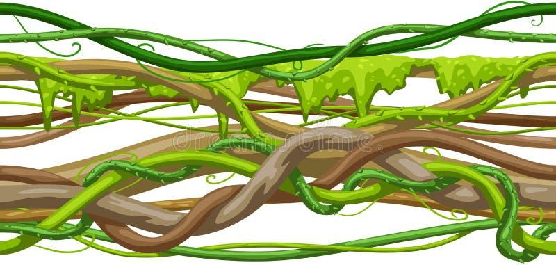 Kręconej dzikiej liany gałąź bezszwowy wzór D?ungla winograd?w ro?lina royalty ilustracja