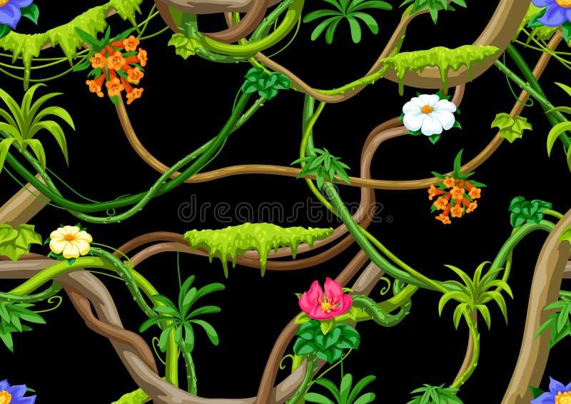 Kręconej dzikiej liany gałąź bezszwowy wzór D?ungla winograd?w ro?lina ilustracji