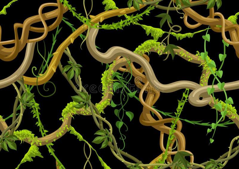 Kręconych dzikich lian bezszwowy wzór ilustracji