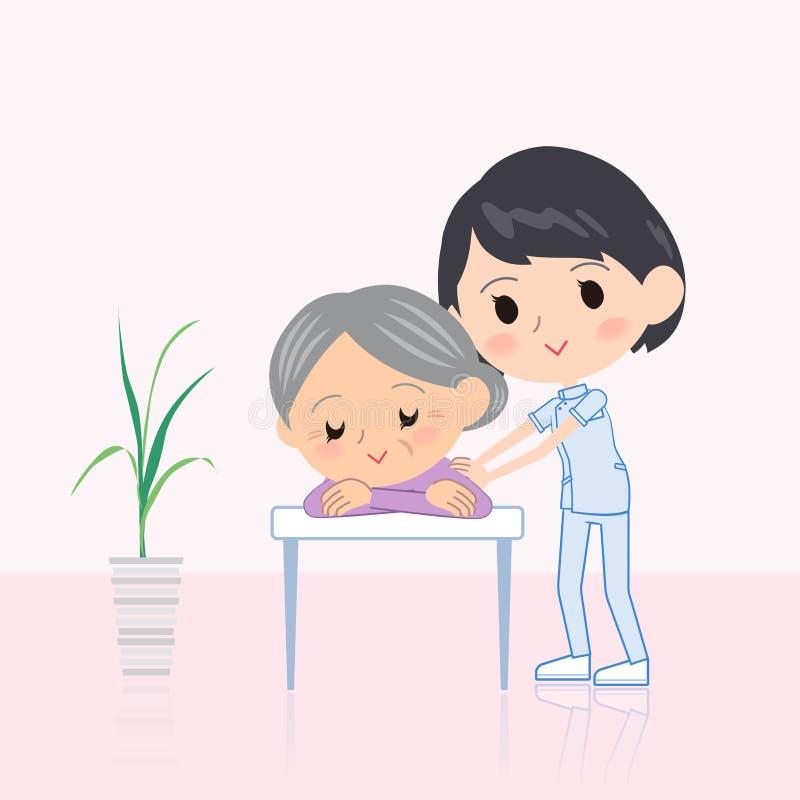 Kręgarz kobiety masażu scena ilustracja wektor