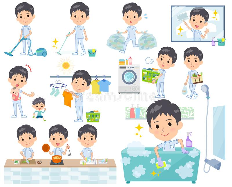 Kręgarz men_housekeeping ilustracji