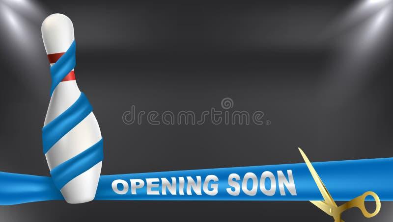 Kręgle otwiera wkrótce błękitnego faborek Wektorowa klamerki sztuki ilustracja ilustracji