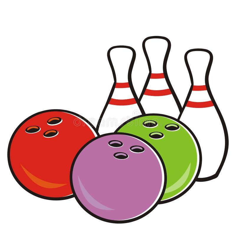 Kręgle piłka i szpilki, wektorowa ikona dla sport gry turnieju royalty ilustracja