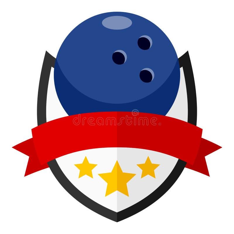 Kręgle piłki Płaski logo z faborkiem na bielu ilustracji