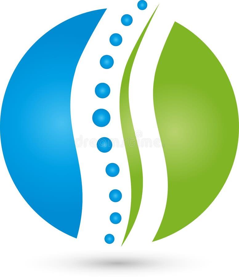 Kręgosłup, okrąg, fizjoterapia i naturopaths logo, royalty ilustracja