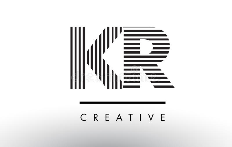 Download Kr K R Black And White Lines Letter Logo Design Stock Vector Illustration Of