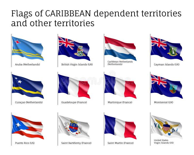 Kr?kta flaggor av karibiska beroende territorier vektor illustrationer