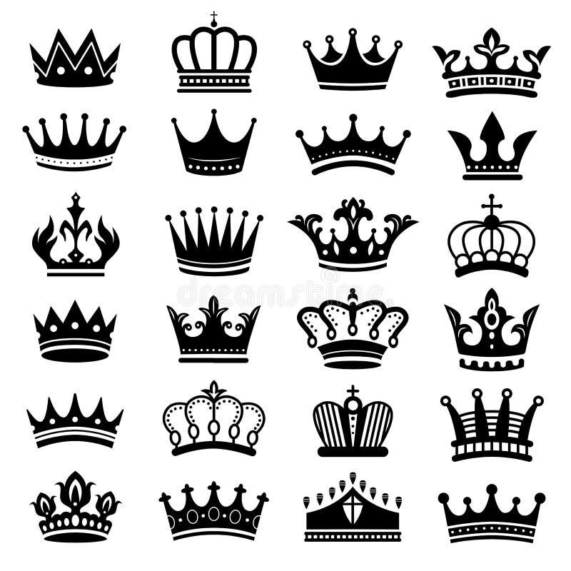 Kr?lewska korony sylwetka Królewiątko korony, majestatyczny coronet i luksus tiary sylwetek wektoru set, ilustracja wektor