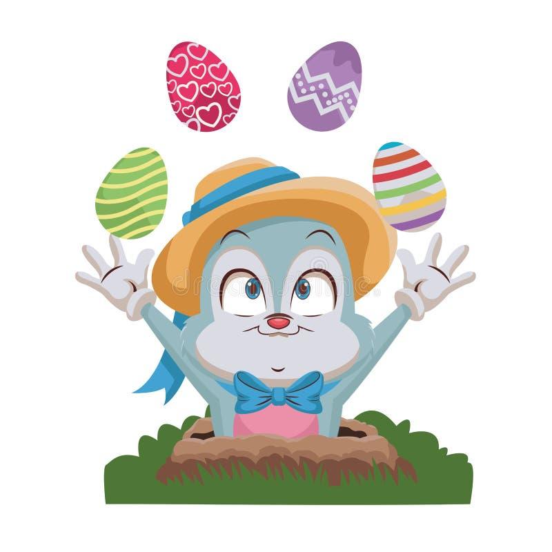 Kr?lik joggling Easter jajka ilustracja wektor