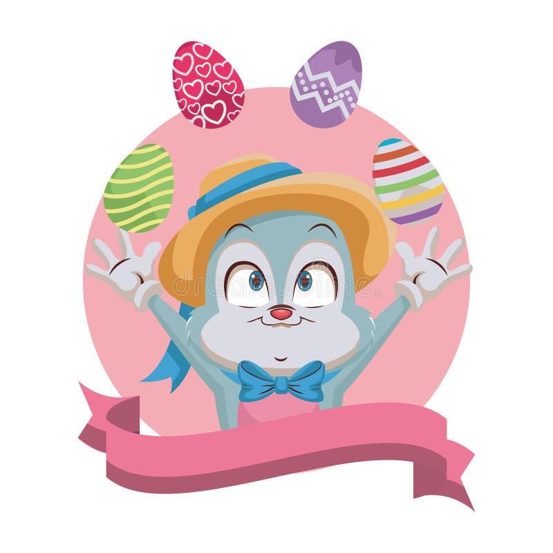 Kr?lik ?ongluje Wielkanocnych jajka ilustracji