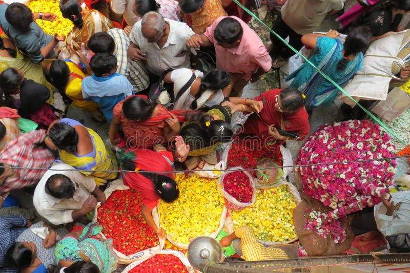 KR market in Bangalore!. Selling flowers at the market royalty free stock photos