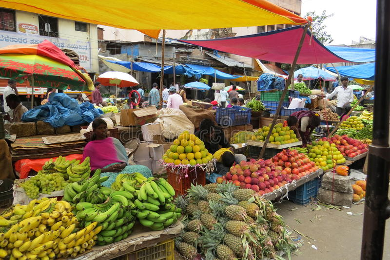 KR market in Bangalore!. Selling fruits at the market royalty free stock photos