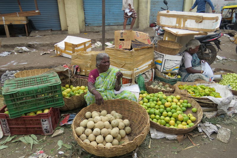 KR market in Bangalore!. Selling fruits at the market royalty free stock images
