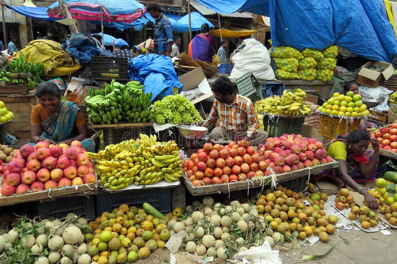 KR market in Bangalore!. Selling fruits at the market royalty free stock image