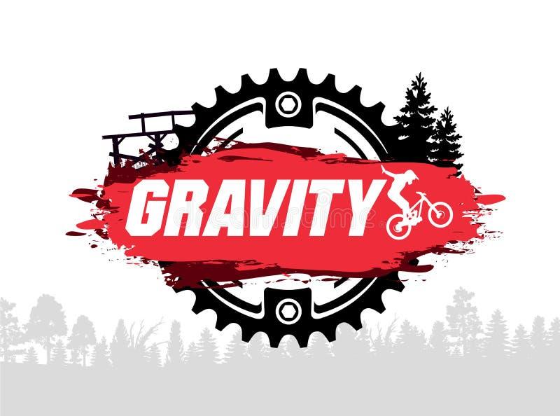Krańcowa góra jechać na rowerze projekt Zjazdowy, freeride, slopestyle, enduro Skakać na rowerze Spoważnienie MTB wektor royalty ilustracja