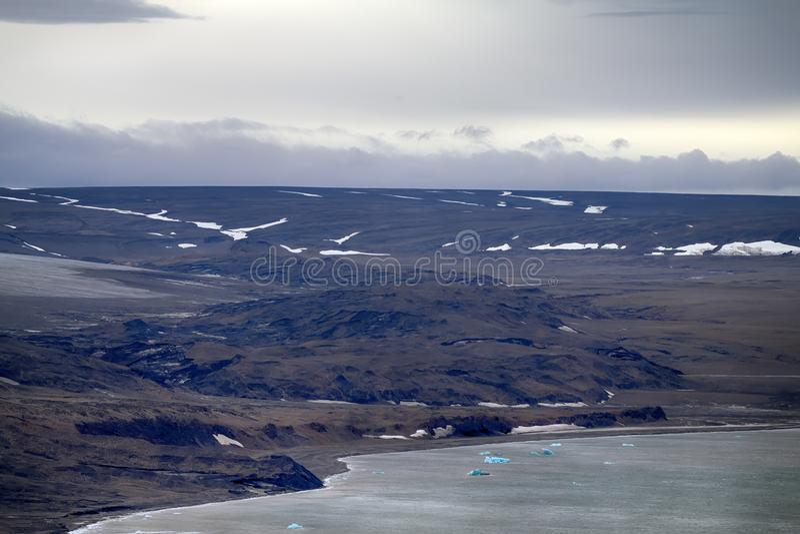 Krańcowa morena lodowiec (lateral morena) zdjęcie stock