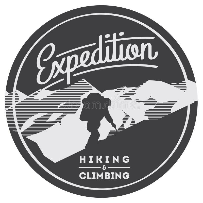 Krańcowa plenerowa przygody odznaka Wysokie góry ilustracyjne ilustracja wektor