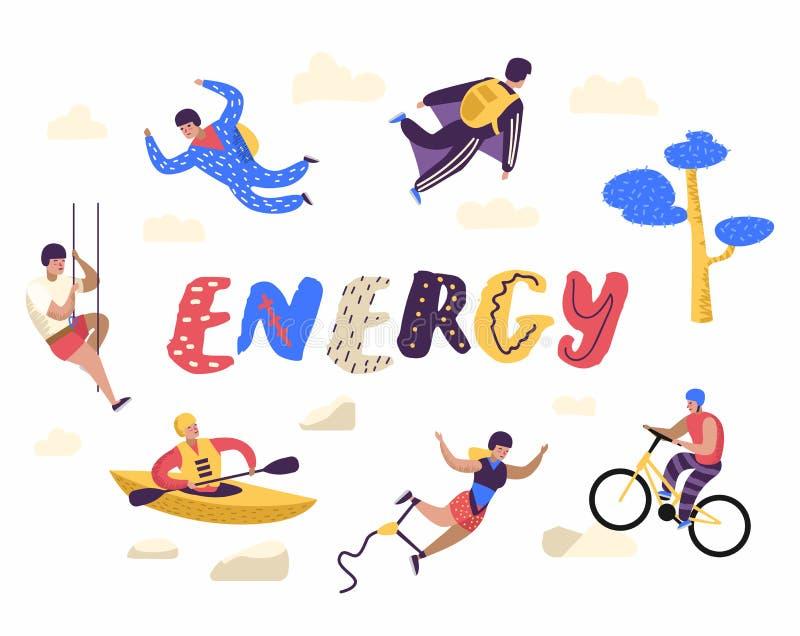 Krańcowi sportów charakterów Ustawiających ludzie Płascy Aktywni kreskówka mężczyzna Kayaking, Jeździć na rowerze, Skydiving royalty ilustracja
