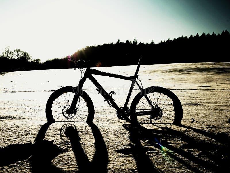 Krańcowy kontrasta roweru górskiego pobyt w prochowym śniegu Przegrana ścieżka w głębokim snowdrift obrazy royalty free