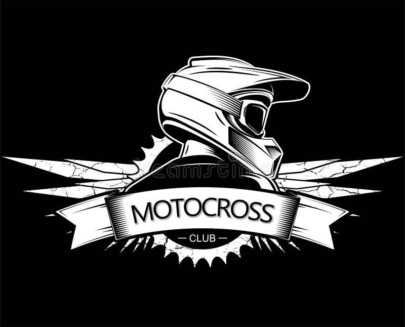 Krańcowy sporta logo projekt Motocross logo Zjazdowy Halny Jechać na rowerze szablon Boczny widok mężczyzna z całkowym hełmem ilustracja wektor