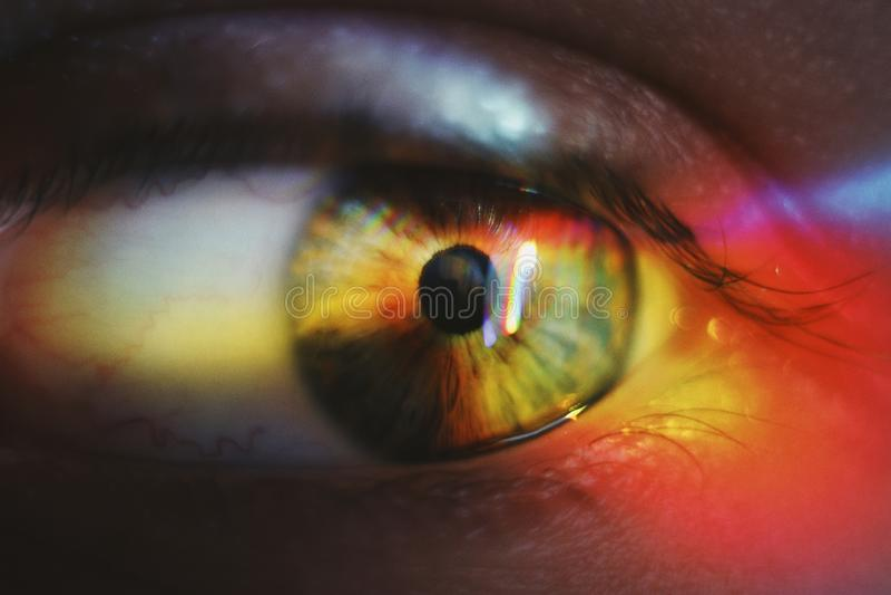 Krańcowy zbliżenie strzał piękny ludzki oko z lekkim jaśnieniem na nim obrazy royalty free