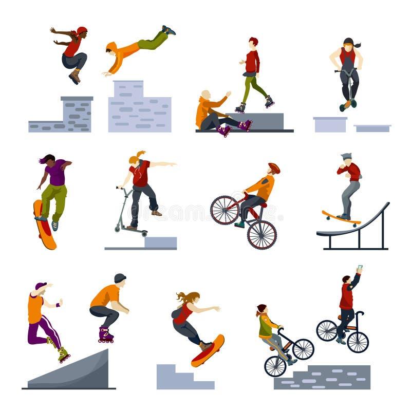 Krańcowych miasto sportów Płaskie ikony Ustawiać ilustracji