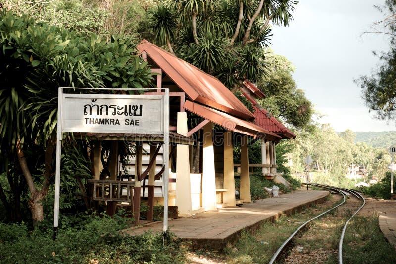 Kra Sae cave train station royalty free stock photo
