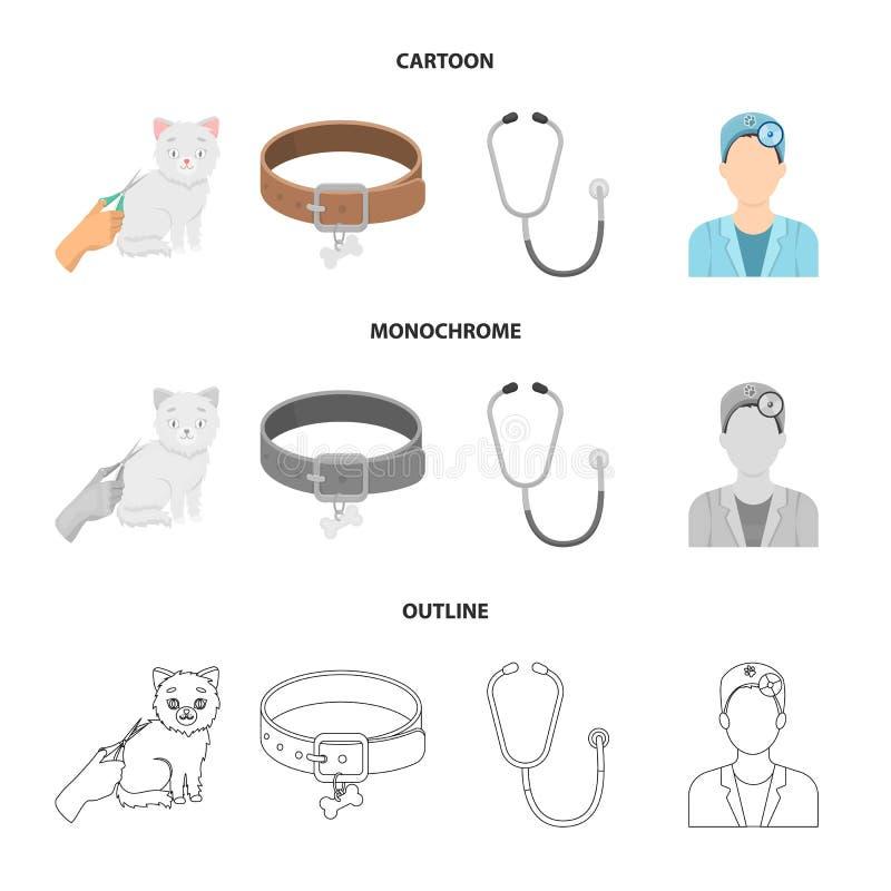 Kraag, been, kat, kapsel Vastgestelde de inzamelingspictogrammen van de dierenartskliniek in beeldverhaal, overzicht, de zwart-wi royalty-vrije illustratie