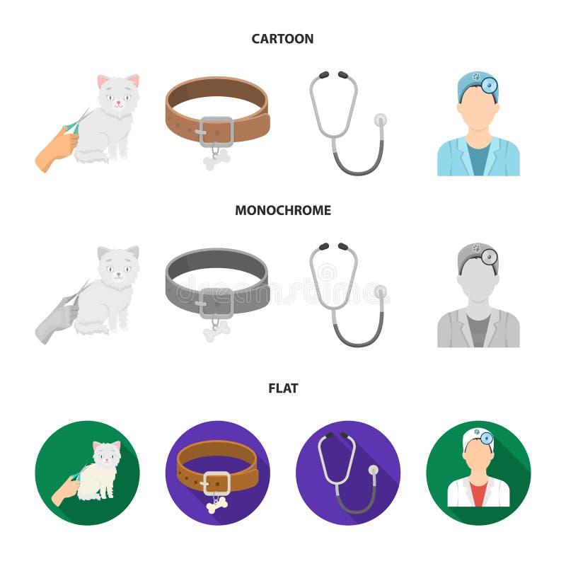 Kraag, been, kat, kapsel Vastgestelde de inzamelingspictogrammen van de dierenartskliniek in beeldverhaal, de vlakke, zwart-wit v vector illustratie