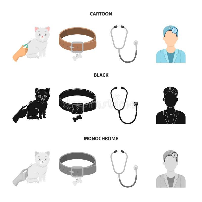 Kraag, been, kat, kapsel Vastgestelde de inzamelingspictogrammen van de dierenartskliniek in beeldverhaal, de zwarte, zwart-wit v stock illustratie