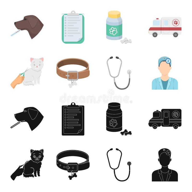Kraag, been, kat, kapsel Vastgestelde de inzamelingspictogrammen van de dierenartskliniek in zwarte, van de het symboolvoorraad v vector illustratie