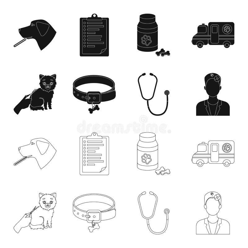 Kraag, been, kat, kapsel Vastgestelde de inzamelingspictogrammen van de dierenartskliniek in zwarte, van de het symboolvoorraad v stock illustratie