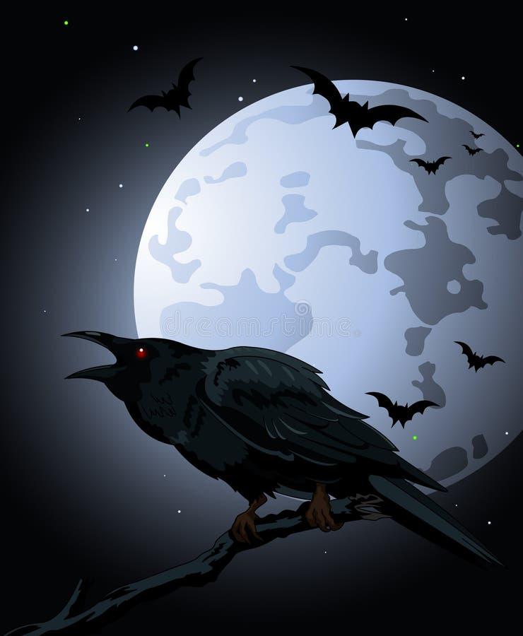 Kraai tegen een volle maan stock illustratie