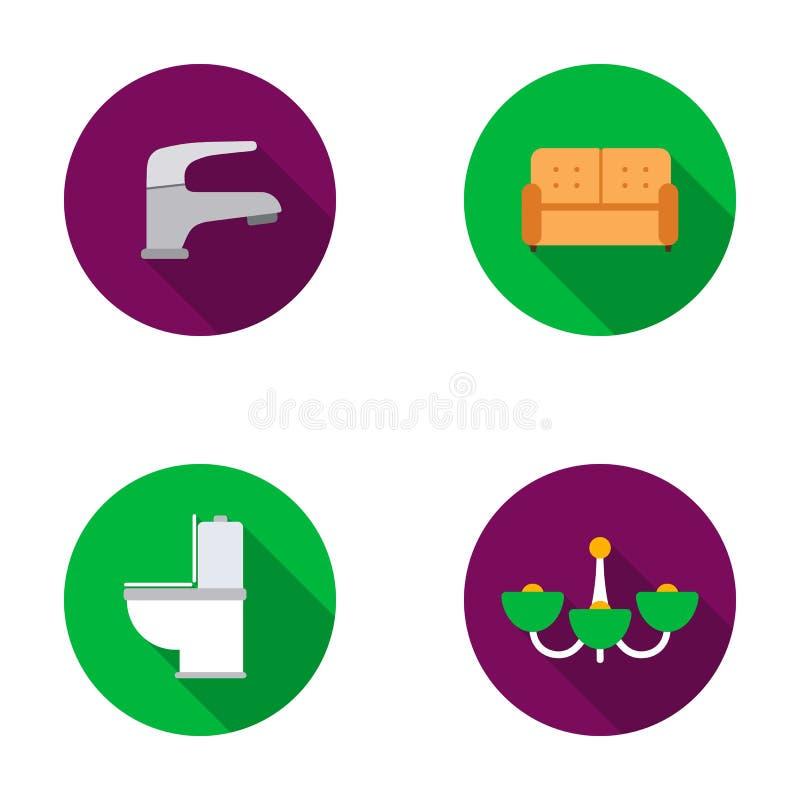 Kraan, bank, toilet, kroonluchter Pictogrammen van de meubilair de vastgestelde inzameling in het vlakke Web van de de voorraadil royalty-vrije illustratie