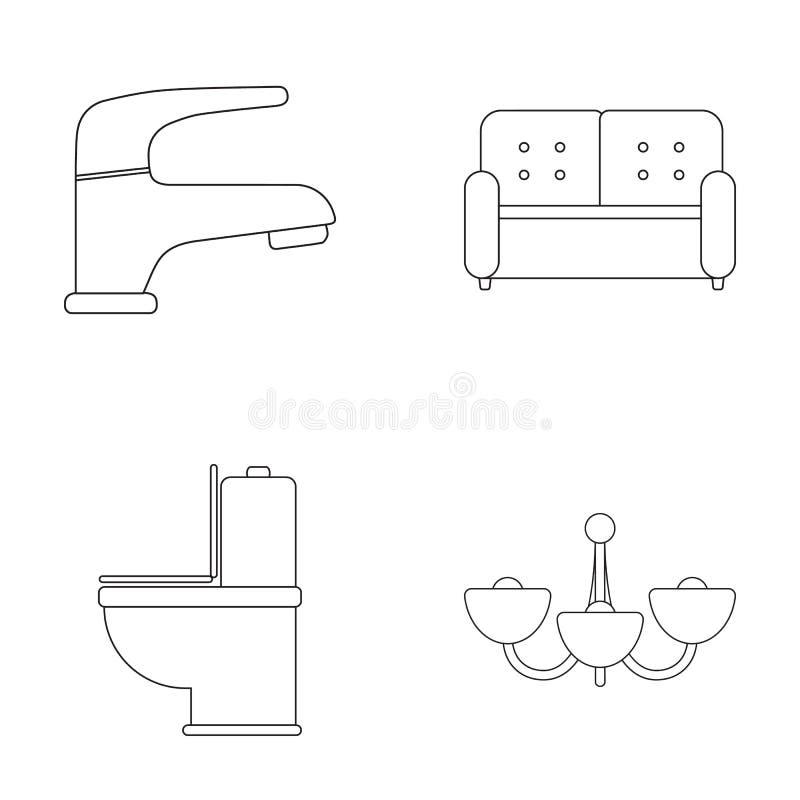 Kraan, bank, toilet, kroonluchter Pictogrammen van de meubilair de vastgestelde inzameling in van de het symboolvoorraad van de o vector illustratie