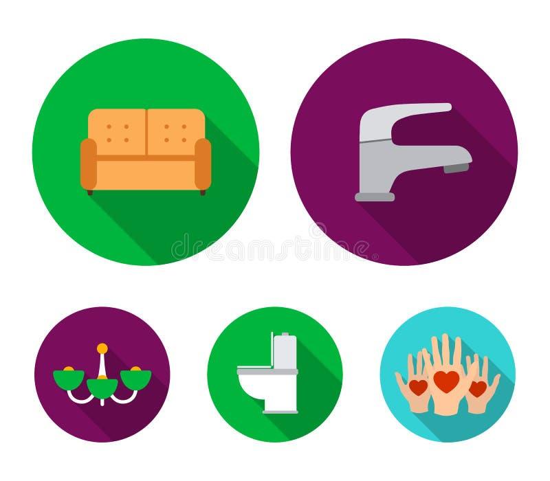 Kraan, bank, toilet, kroonluchter Pictogrammen van de meubilair de vastgestelde inzameling in het vlakke Web van de de voorraadil stock illustratie
