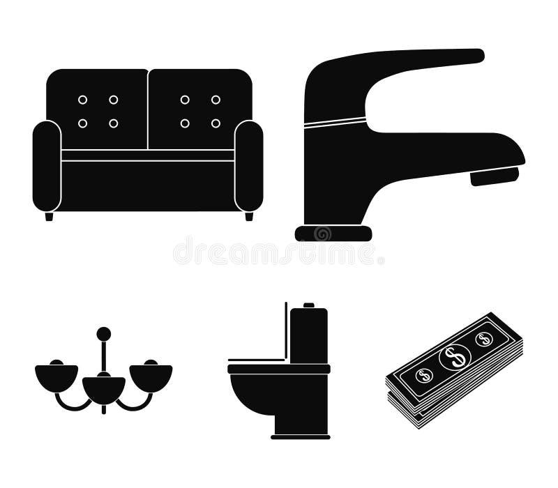 Kraan, bank, toilet, kroonluchter Pictogrammen van de meubilair de vastgestelde inzameling in het zwarte Web van de de voorraadil stock illustratie
