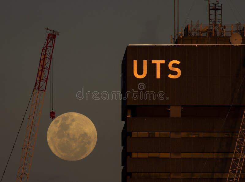 Kraan een super maan naast Universiteit van Technologie Sydney stock foto
