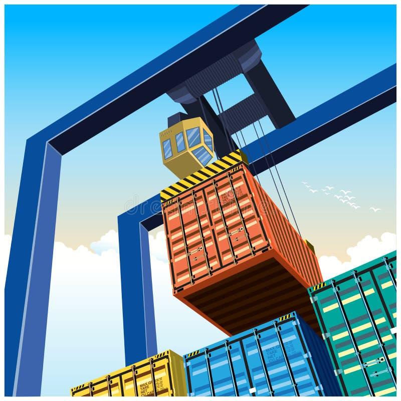 Kraan en containers vector illustratie