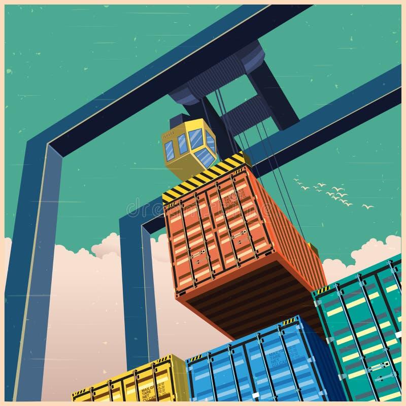 Kraan en containers oude affiche stock illustratie