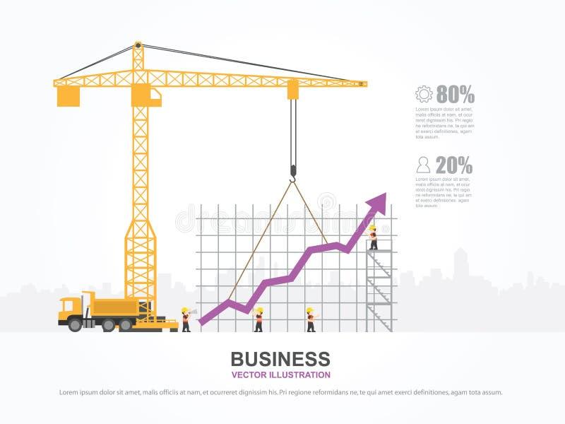 Kraan en grafiek de bouw vector illustratie