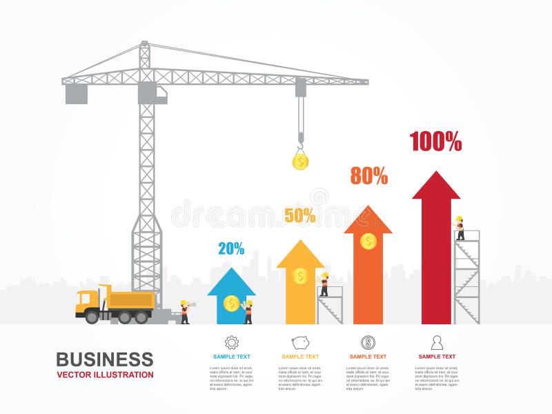 Kraan en stijgende grafiek stock illustratie