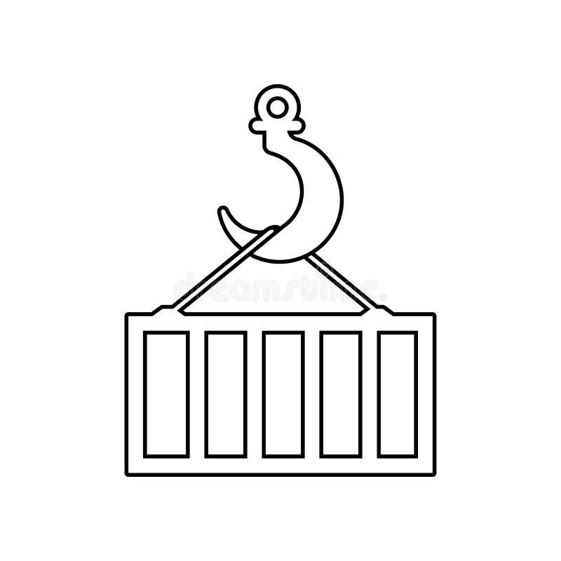 kraanhaak met containerpictogram Element van Logistisch voor mobiel concept en webtoepassingenpictogram Overzicht, dun lijnpictog stock illustratie