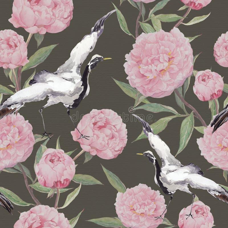 Kraanvogels, pioenbloemen Bloemen het herhalen achtergrond watercolor stock illustratie