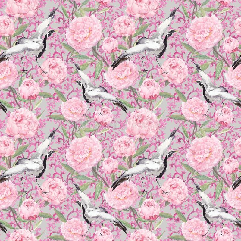 Kraanvogels, pioenbloemen Bloemen het herhalen decoratief patroon watercolor stock illustratie