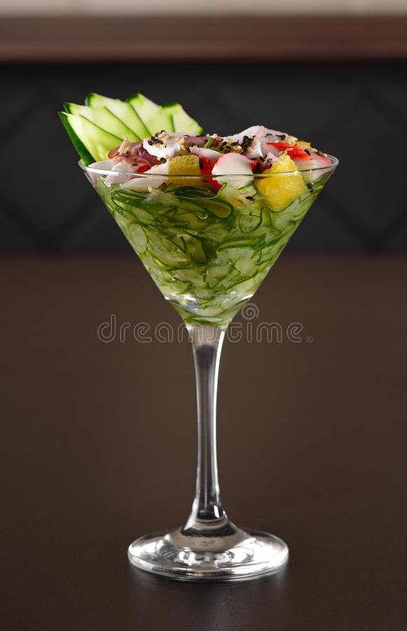 Krab ceviche glas stock afbeelding