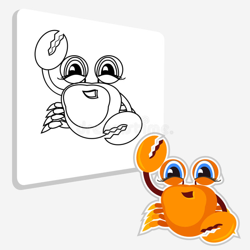 Krab kleurende pagina boek voor kinderens pret royalty-vrije illustratie