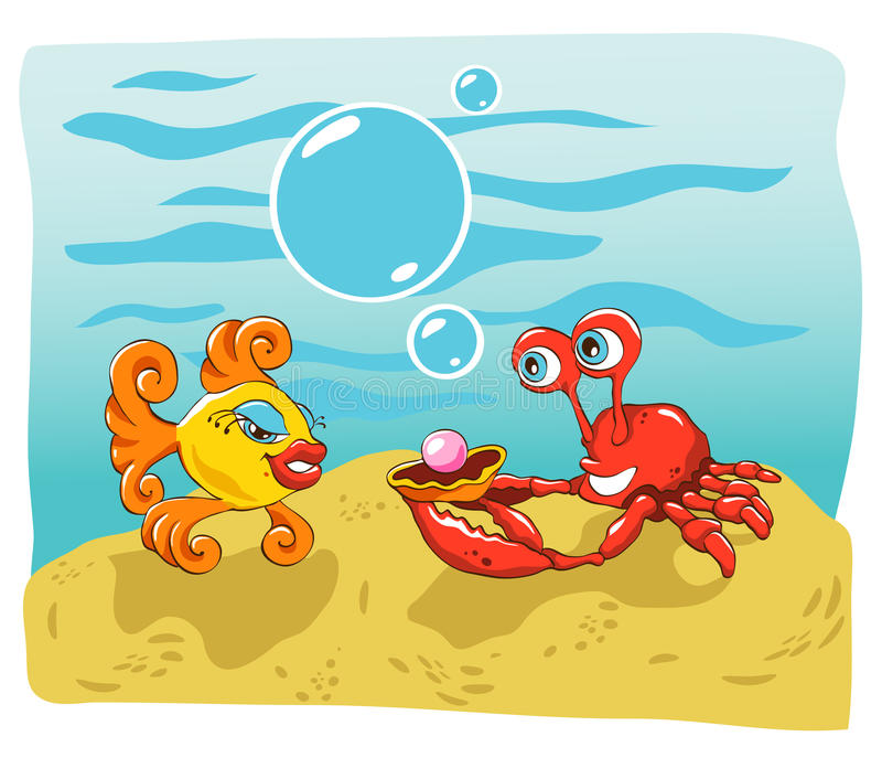 krab ryba royalty ilustracja