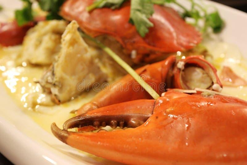 Krab van het stoom de Aziatische voedsel stock fotografie