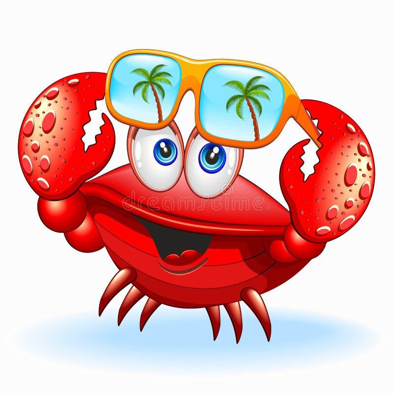 Krab z okulary przeciwsłoneczni postaci z kreskówki wektoru Szczęśliwą ilustracją royalty ilustracja
